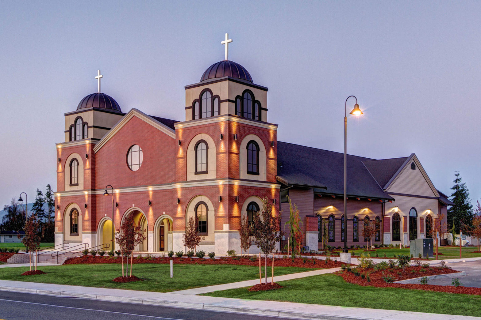Immaculate Conception Catholic Church at dusk, Chad Fisher Construction general contractor