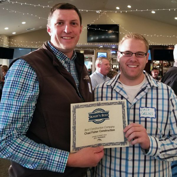 Dan Fisher and Zach Collins at Sakgit's Best awards reception. Chad Fisher Construction named Best Construction Company.